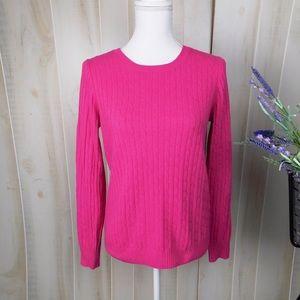 J. Crew Bright Pink Crew Neck Wool Blend Sweater